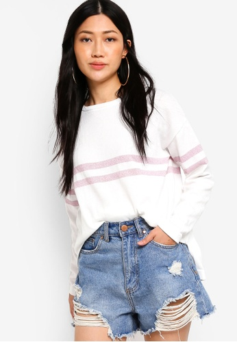 a8ee578941 Something Borrowed white and pink Slouchy Knit Sweater 3954DAAD82BF4BGS 1