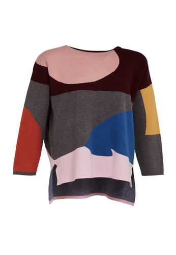 Universal Traveller red Universal Traveller Crew Neck Oversized Knitted Sweater With Colour Blocking Design - KSW 9170 5447AAA1E44396GS_1