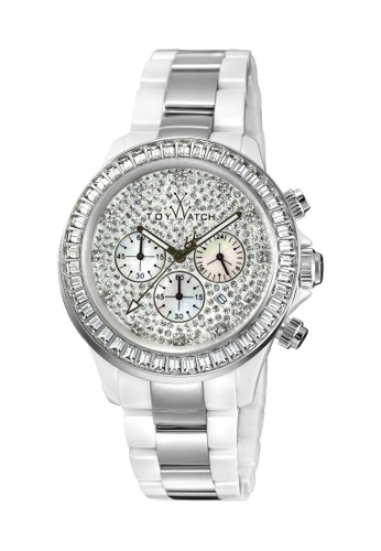 ToyWatch white ToyWatch Stainless Steel &  Ceramic White Silver Chrono Ladies Watch Swarovski Elements TYCHMC05WHS 64AF5AC01A1298GS_1