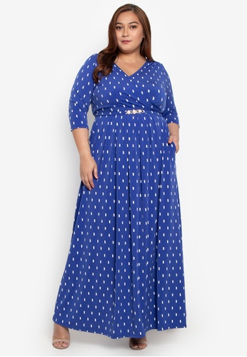 3824090bc27 Love Curves Clothing By Jgo blue Plus Size Pleated Wrap Maxi Dress  4419DAABA16CD2GS 1