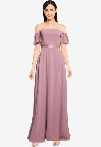 Goddiva pink Off The Shoulder Chiffon Maxi Dress With Front Split 6F4D8AAEAFA356GS_1