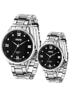 NARY Couple Rhinestone Steel Quartz Watch - 6051