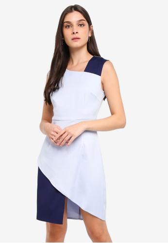 ZALORA 藍色 and 多色 雙色拼接不規則短洋裝 84926AABC7D936GS_1