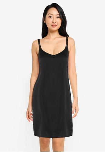 ZALORA BASICS multi Lounge Lace Trim Satin Slip Dress A1398AA95B7F33GS_1