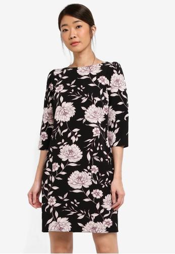 Dorothy Perkins black Black Floral Print Shift Dress 89AC4AAF0B817CGS_1