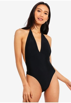 135d0b60ae PINK N' PROPER black Basic Plunge Halter Tie-Front Swimsuit  E59CAUSF2DFABFGS_1