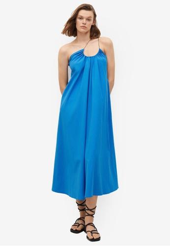 Mango blue Wrap Neckline Dress 179DFAA8C8BF7AGS_1