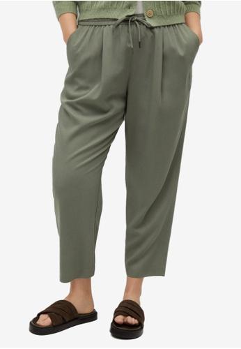 Violeta by MANGO green Plus Size Elastic Waist Trousers 1C0B3AA9B1ACC1GS_1