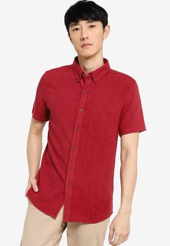 ZALORA BASICS red Short Sleeve Linen Blend Shirt C5E79AA1C34BEFGS_1