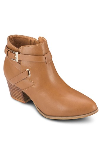 Pri京站 espritde 扣環踝帶高跟短靴, 女鞋, 鞋