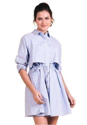 Kitschen blue Striped Shirt Dress 82269AAB23340AGS_1