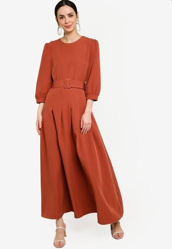 Zalia brown Puff Sleeves Belted Dress 5FD12AAF6A4C28GS_1