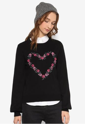 刺繡玫瑰長袖織衫, esprit台灣官網服飾, 外套