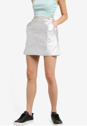TOPSHOP silver Petite PU Classic Skirt TO412AA48NILMY_1