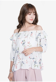 0167468809756 Yoco white Floral Off-Shoulder Top 5AC1CAA733FD2FGS_1