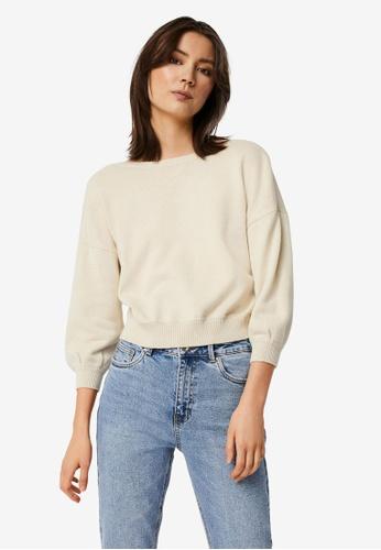 Vero Moda beige Ayla 3/4 Short V-Back Pullover 8F8E7AAF194778GS_1