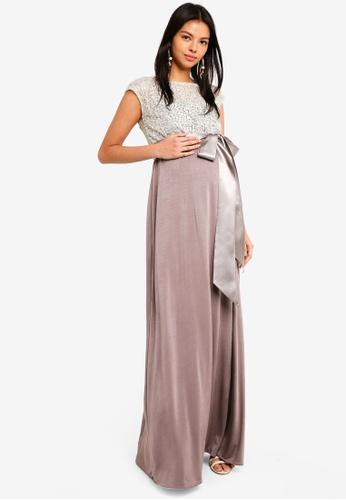 Tiffany Rose 粉紅色 孕婦裝 蕾絲刺繡長洋裝 8D61BAA4F8E066GS_1