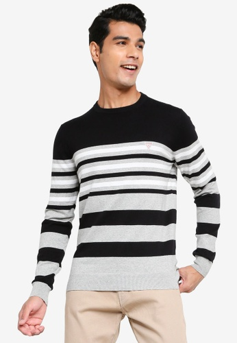 GUESS black and grey Justyn Long Sleeve Crew Neck Striped Sweater 927EDAA6642092GS_1