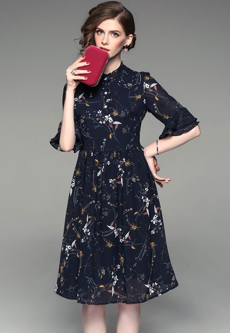 Piece Sleeves A092719 W Flare Sunnydaysweety Dress Mid Floral 2017 Chiffon One F multi ZaTtqaw8