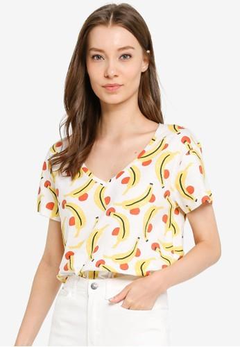 Compania Fantastica white Banana Print T-Shirt D96B2AAE63D6BDGS_1