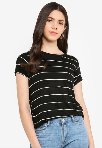 Cotton On black and white Kathleen Short Sleeve Top 416A7AA86E2493GS_1