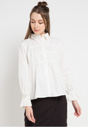 EDITION white Elastic Gathered Shirt 9D720AAC06EE69GS_1