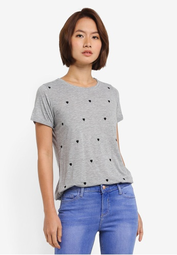 Dorothy Perkins grey Grey Heart Embroidery Top D6B08AAB88B676GS_1