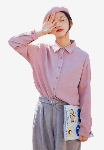 Lara purple Women's Long Sleeves Plain Shirt E2297AA17F9A0BGS_1