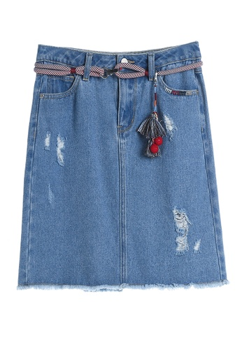 Hopeshow blue Ripped Mid Thigh Denim Skirt with Tassels Belt HO442AA0GE6PSG_1