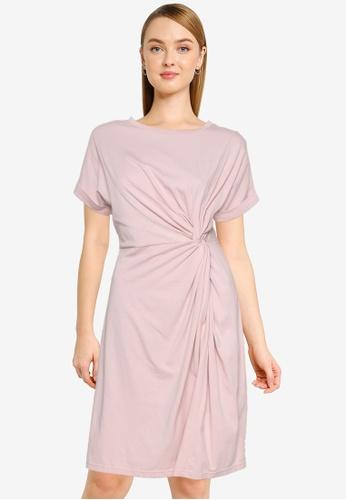 Nichii 粉紅色 Front Knot Tee Dress 4210FAA73D9C73GS_1