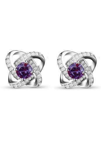 LYCKA purple LFF5228-LYCKA-S925 Siliver Purple ZirconClover Earrings-Purple 4180DACFA9CAA1GS_1
