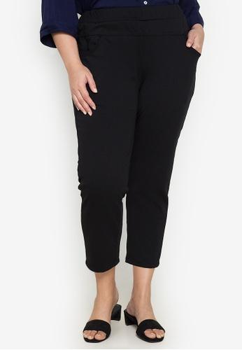 Maxine black Plus Size Cropped Skinny Pants 729D7AA2FD1049GS_1