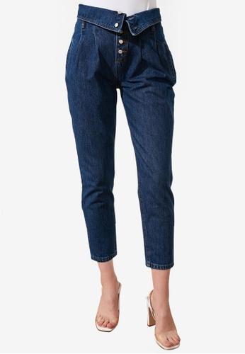 Trendyol navy Button Detail High Waist Mom Jeans E8B90AA43A7EE9GS_1