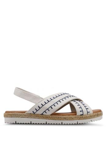 Velvet white Cross Band Sandals 683C7SHAA318EDGS_1