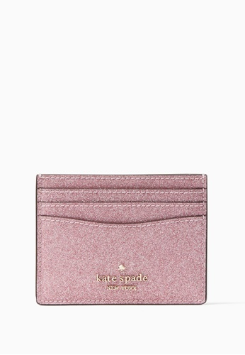 Kate Spade pink Kate Spade Lola Glitter Boxed Small Slim Card Holder - Rose Pink A69C9AC369E4FBGS_1
