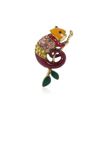 Glamorousky brown Fashion Personality Plated Gold Brown Lizard Brooch with Cubic Zirconia 510F7AC49AB05CGS_1