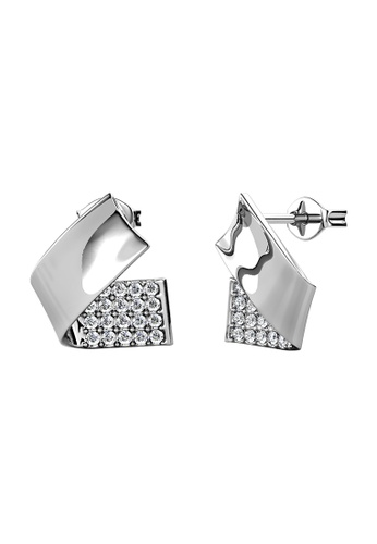 LOVE AND LIFE white Love & Life Hazel Fold Earrings (White Gold) embellished with Crystals from Swarovski 454ABAC28922A8GS_1