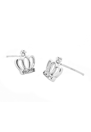 Elfi silver Elfi 925 Sterling Silver Crown Shape Fashion Earrings SE60 EL186AC0RWS0MY_1