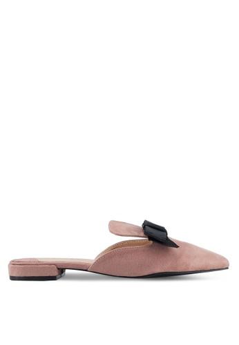 Something Borrowed pink Contrast Bow Slip-on flats 60078SH6E21DA8GS_1