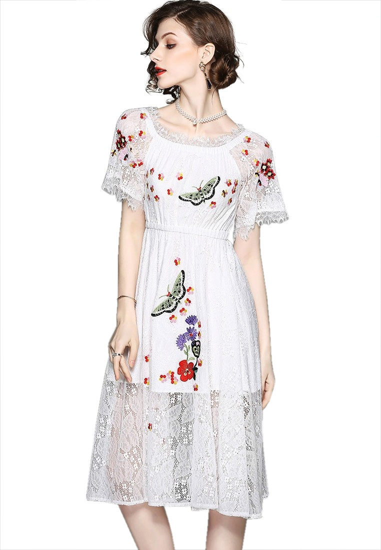 Shoulder 2018 Piece Sunnydaysweety Pattern Mini white White Dress New Floral Off One A052214 CfYqOC