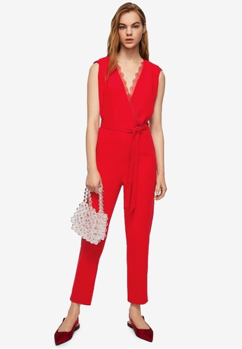 Mango red Lace Applique Jumpsuit 79BACAA19DA26AGS_1