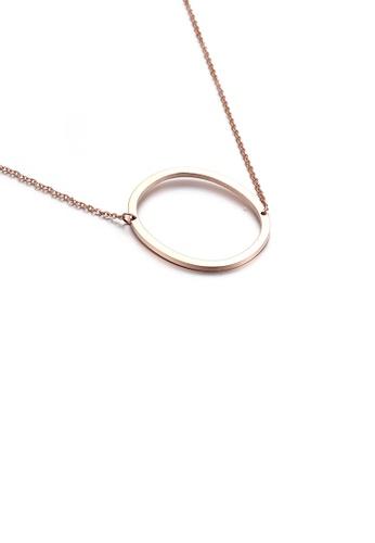 Glamorousky 銀色 時尚簡約鍍玫瑰金英文字母O 316L鋼吊墜配項鏈 36425AC50E722AGS_1