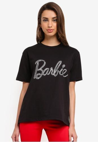 MISSGUIDED black Hotfix Barbie Tshirt C2E52AA232B6D4GS_1