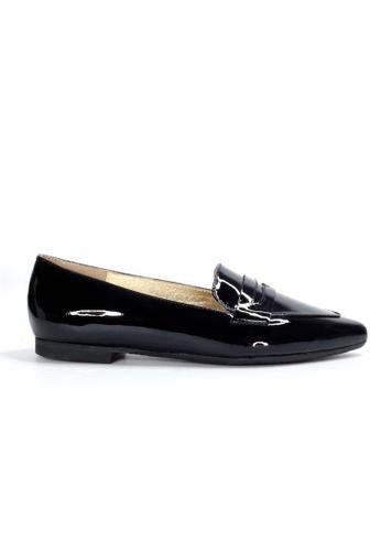 Shu Talk 黑色 復古漆皮尖頭樂福鞋 04837SH30BA3A6GS_1