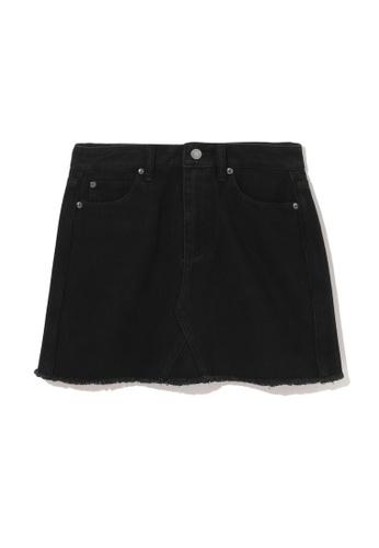 izzue black Frayed denim skirt AD208AA57E9EE0GS_1
