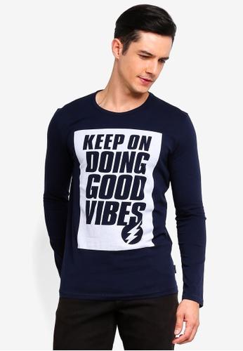 Sisley blue Slogan Printed T-shirt 015BFAA0A12217GS_1