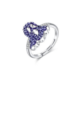 Glamorousky white 925 Sterling Silver Fashion Creative Ghost Adjustable Ring with Purple Austrian Element Crystal 94A18AC9299DCBGS_1