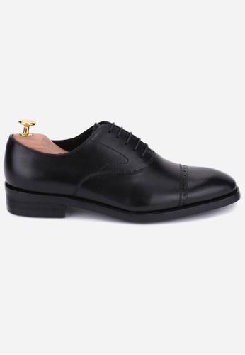 Earnest & Collective black Stratford III Black Brogued Cap Toe Oxford 726CCSH7CB9E84GS_1