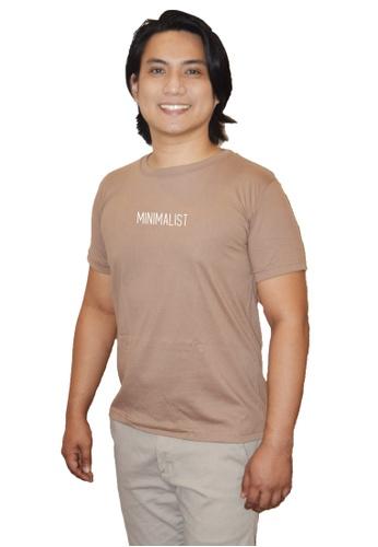 Myriad Print Concepts brown Minimalist Statement Shirt (Khaki) - Minimalist 73C9CAA387E2D6GS_1