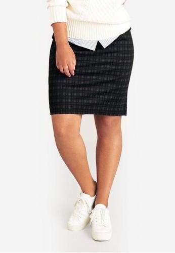 Violeta by MANGO black Plus Size Checked Skirt 581D0AA6F084D9GS_1